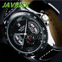 JAVRICK Winner Sport Mens Black Faux Leather Band Date Automatic Mechanical Wrist Watch
