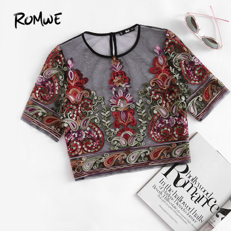 ROMWE Blume Stickerei Mesh Bluse Vintage Sexy Crop Top 2017 Frauen Semi Sheer Boho Tops Schwarz Kurzarm Dünne Tunika bluse