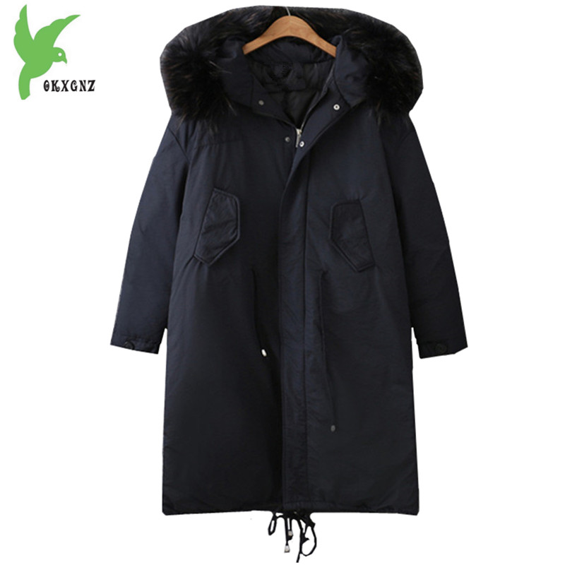 Plus size 5XL Women Winter cotton Jacket Coats Black Warm Parkas Hooded Fur collar Jackets Medium length Fat MM Coats OKXGNZ1247 winter jacket women 2017 big fur collar hooded cotton coats long thick parkas womens winter warm jackets plus size coats qh0578