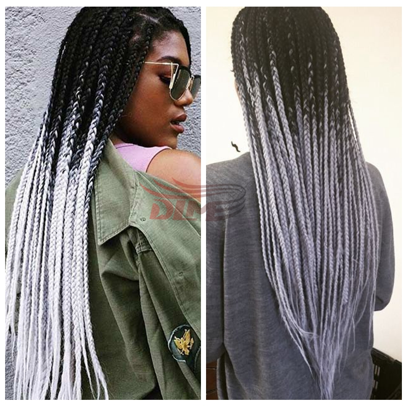 Braiding Box Crochet Braids Synthetic Lace Front Wigs Kinky Twist Ombre Black To Grey Omber