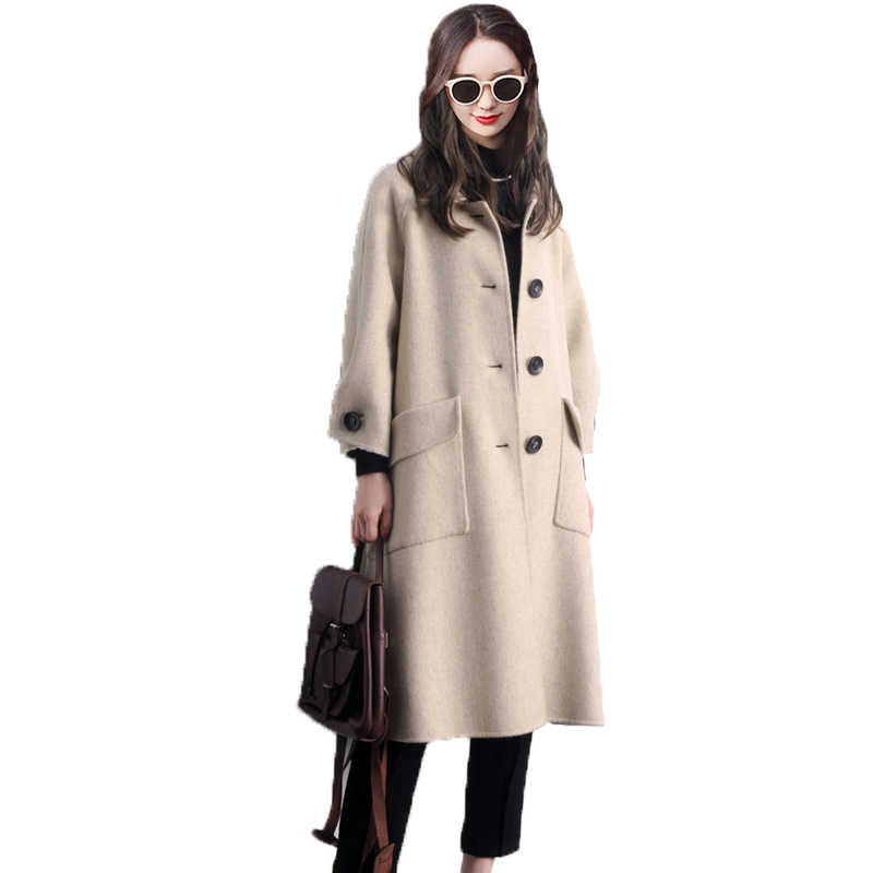 10% Шерсть альпака 90% пальто осень зима куртка женская одежда 2018 корейское двухстороннее тонкое длинное шерстяное пальто Casaco Feminino ZT731