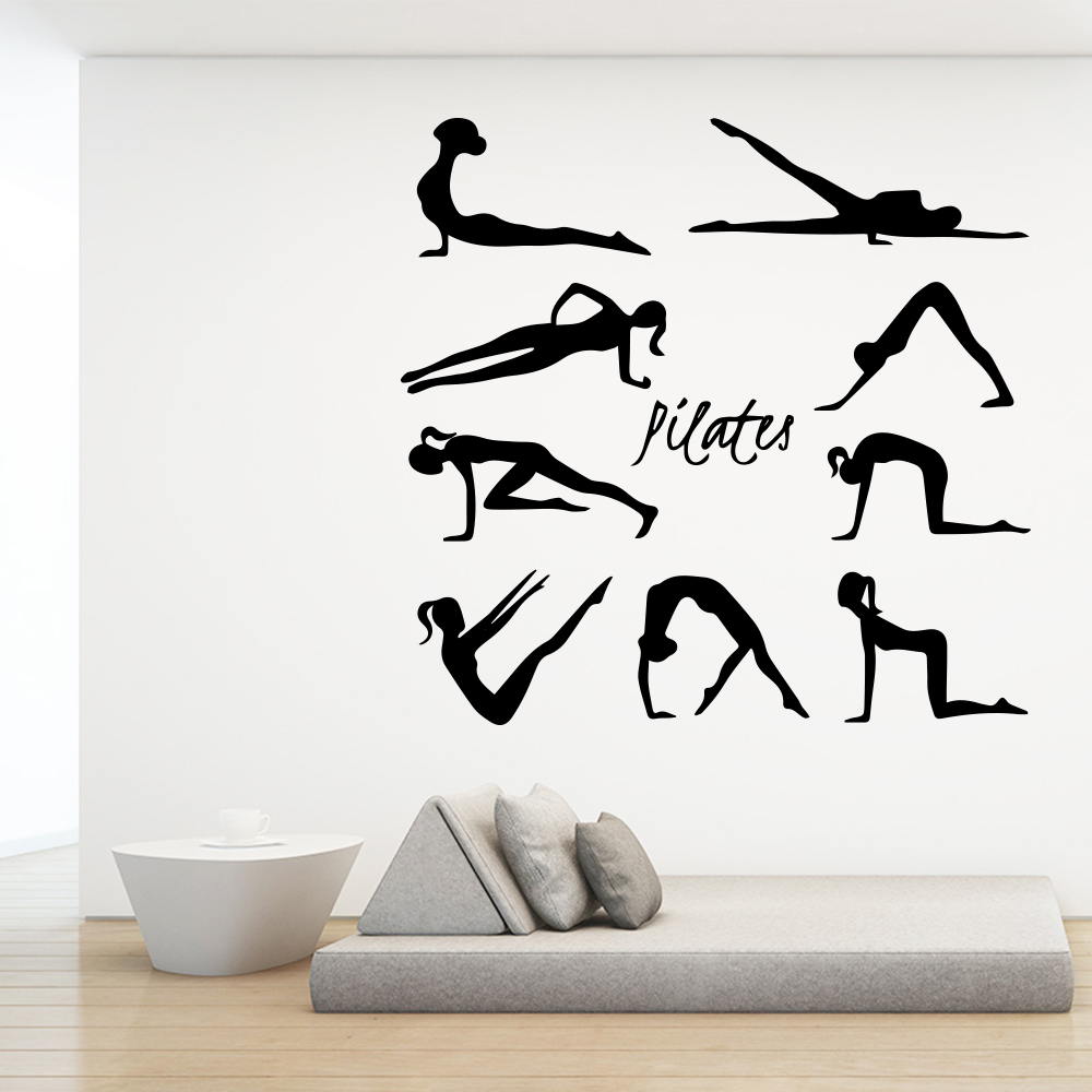 Beauty Pilates Wall Sticker Vinyl Art Decor For Yoga Studio Bedroom Room Decoration Decal Stickers Mural