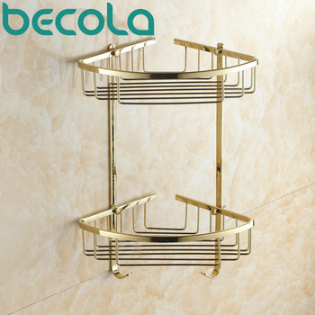 BECOLA Free Shipping Luxury Gold Plated Brass Bathroom Shower Basket Holder Wall Mounted Bathroom Shelves BR-6705