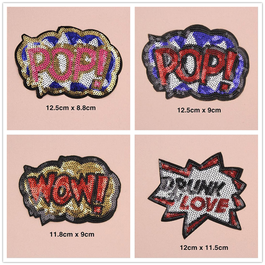 1pc Embroidered Iron On Patches Clothes Sequins Patch POP Sequins DIY Free Ship