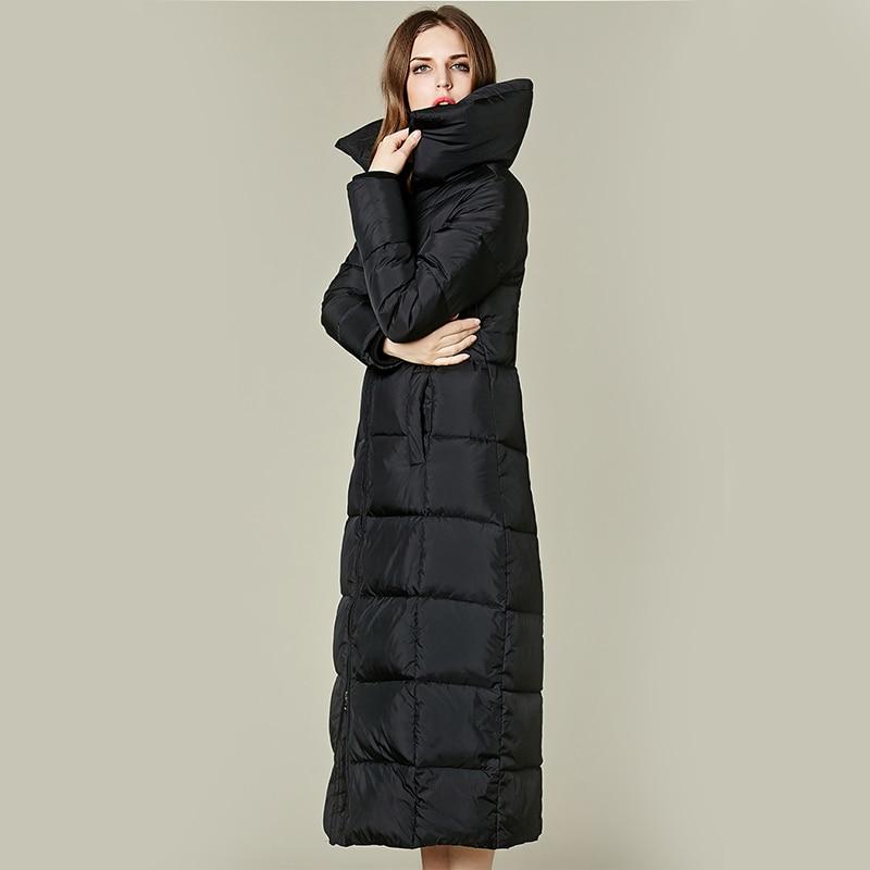 f6cf7b791 US $109.0  Winter Pure black down long jacket women fashion slimwaist White  duck down long coat female ultra light down warm snow outwear-in Down ...