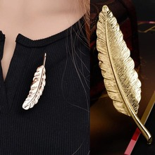 New Vintage Simple Elegant Golden Big Leaf Feather Brooches Pins Fashion Jewelry