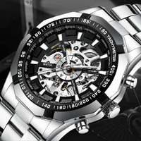 Fashion Men Steel Strap Watch Hollow Watches High End Automatic Movement Mechanical Men's Steel Belt Watch Black and White