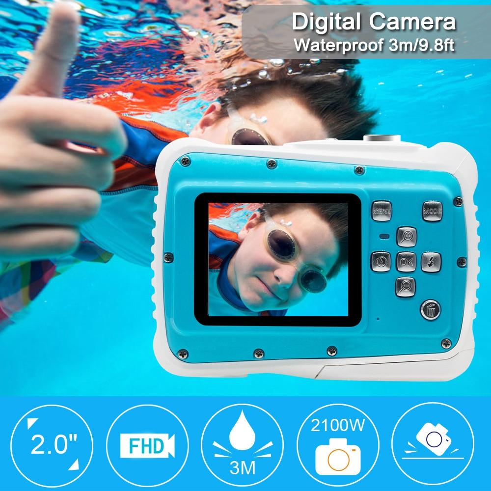 HD Mini 21 M 32G LCD bande dessinée caméra enfants cadeaux d'anniversaire sous-marine Photo étanche Anti choc appareil Photo numérique pour jouet de natation