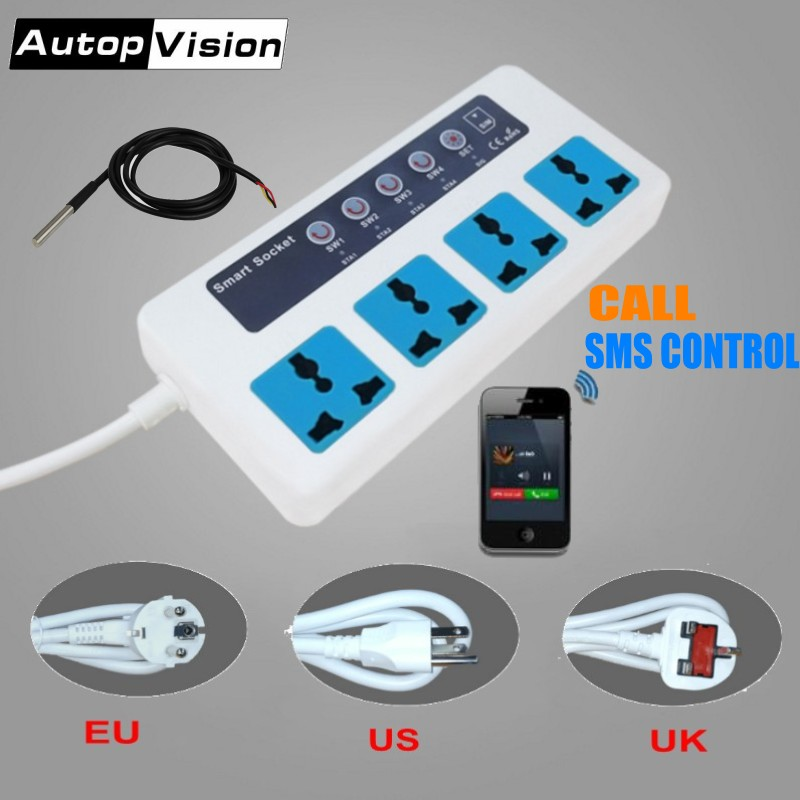 SC4-GSM Phone Call/SMS Remote Control GSM Power Socket Wireless Smart Switch Socket 4 Outlets Home Appliance Control Module