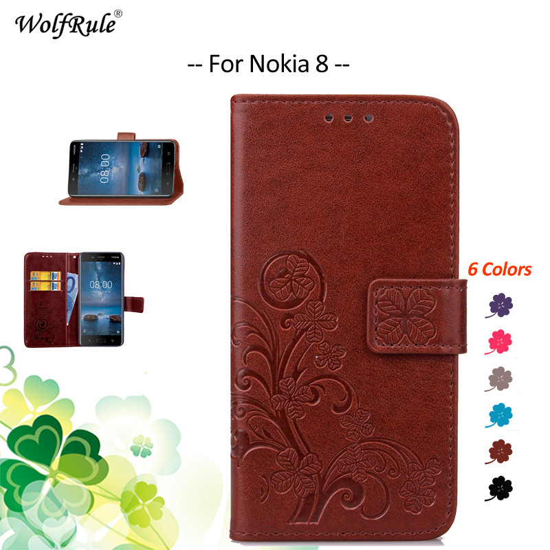 WolfRule For Cover Nokia 8 Case Flip PU Card Holder Wallet Shockproof Phone Bag Case For Nokia 8 Cover For Nokia8 Shell 5.3''