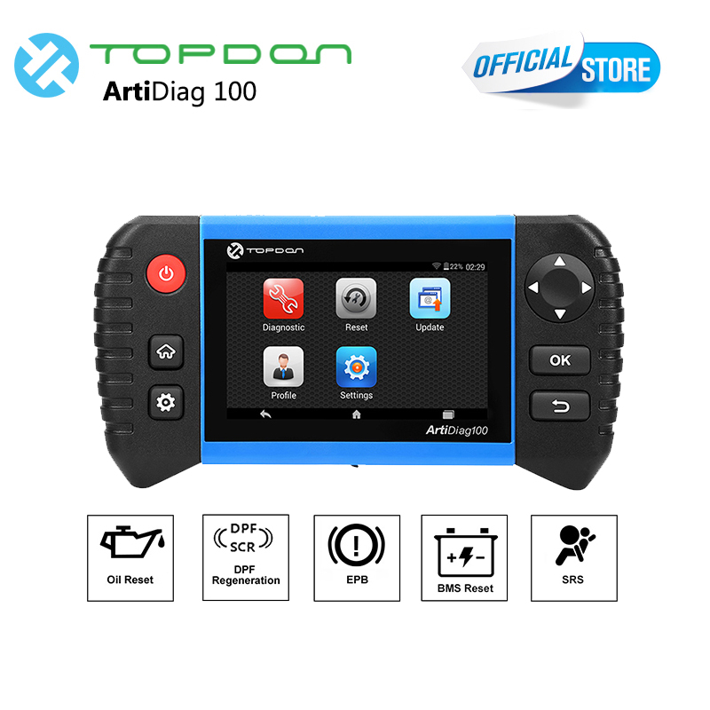 Diagnostic tool Full system scanner as CRP Touch Pro Topdon artiDiag 100 EPB/BMS/SAS/OIL/DPF professional auto diagnostic tool