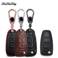 цена на 3 Button Genuine Leather Car Remote Key Fob Cover Case For Ford Focus 3 MK3 ST RS Ecosport kuga Escape fiesta Key Shell Bag