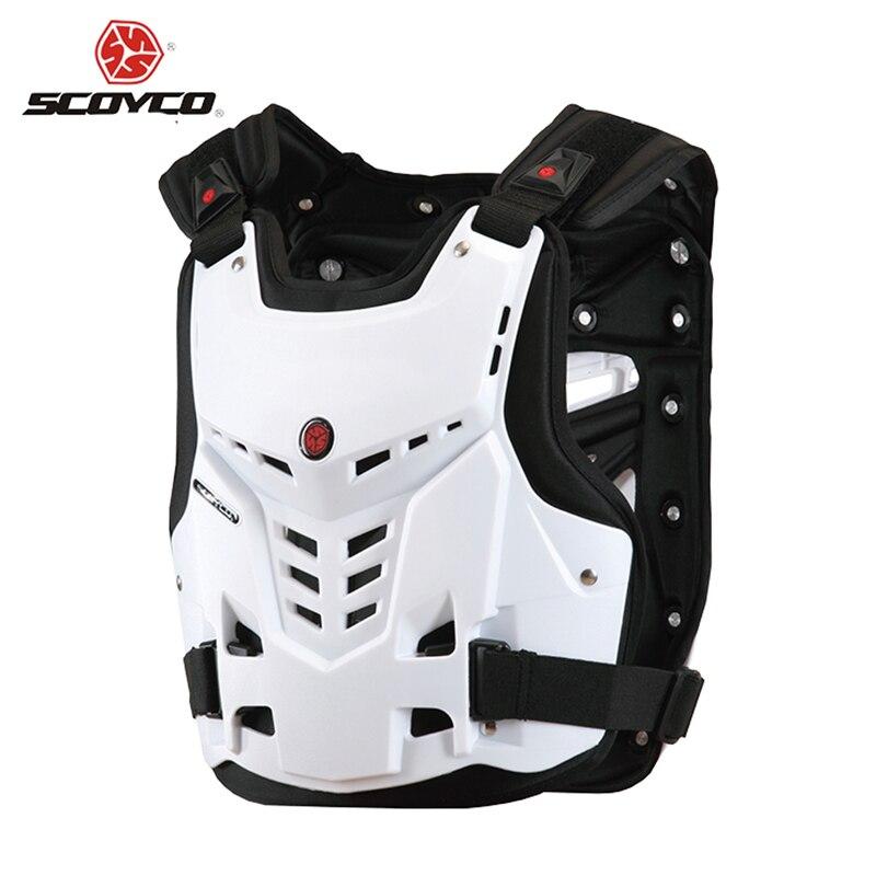 Scoyco accessoires noir/blanc Motocross moto armure poitrine & dos protecteur gilet course protection corps-garde livraison gratuite