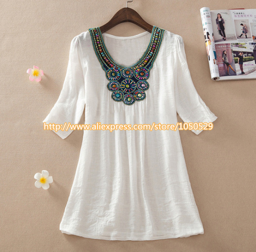2015 new summer maternity Floral Embroidery Loose Blouse Shirts 7 Candy Colors Casual Shirt Tops clothes for pregnant women M277