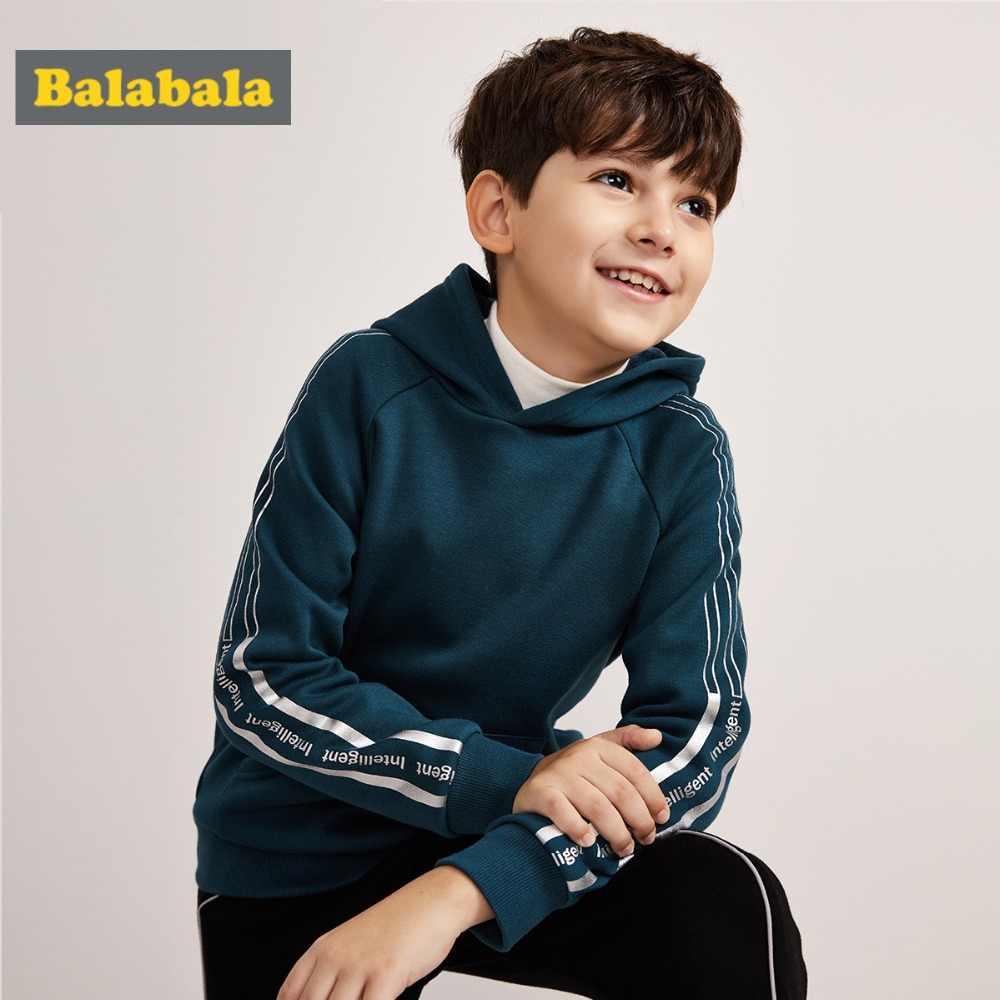 Balabala ילד צמר מרופד צד-פסים שרוולים סלעית סווטשירט עם קנגורו כיס למשוך מעל הסווטשרט עם ארוך ragalan שרוולים