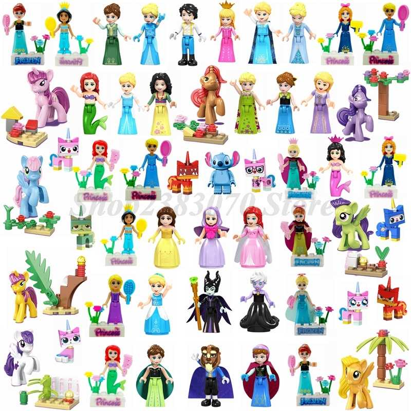 Friends Beautiful girls Movie Princess Mermaid Anna Belle Girl friend Doll Figures Building Blocks Toys compatible Legoings Toys