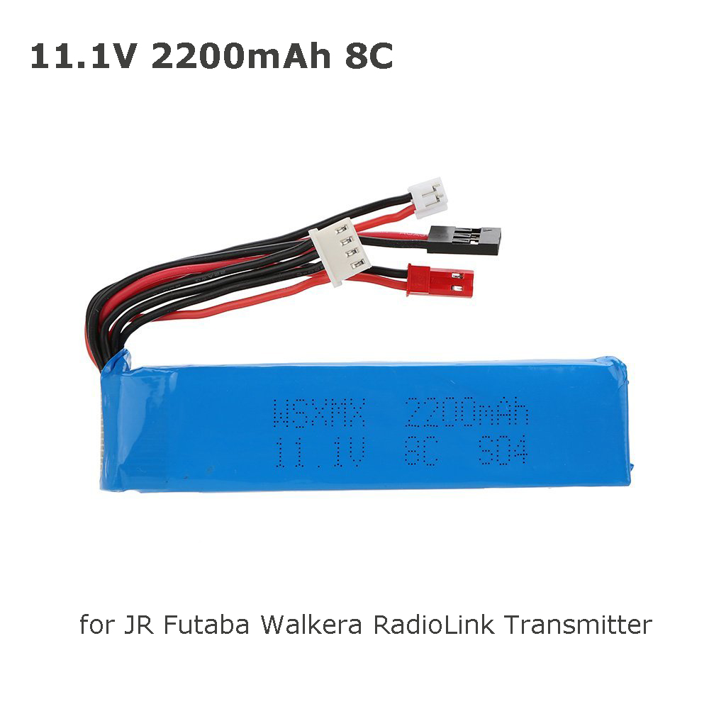 11.1V <font><b>2200mAh</b></font> 8C <font><b>3S</b></font> Li-po Battery 3 Connector for JR Futaba Walkera RadioLink Transmitter image