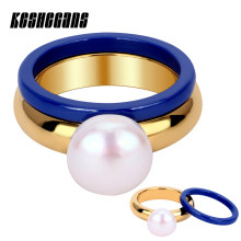 Fashion Elegant Big Simulated Pearl Gold Ring With Blue Ceramic Ring 2pcs/Set For Women Trendy Jewelry Wedding Party Best Gifts(China)