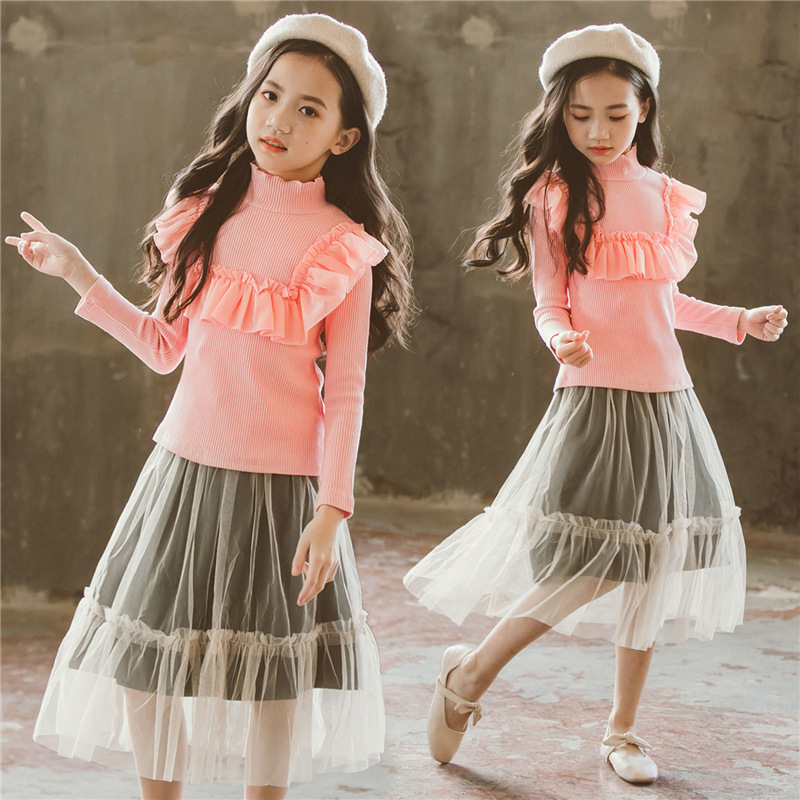 school kids skirt set girl long sleeve knitted sweaters little girl outfit autumn winter teenage clothes for kids girl set 2018 цены