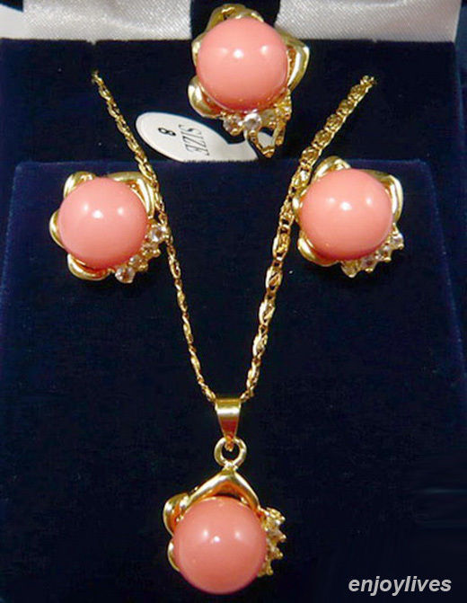Free shipping@@@@@ Pink Coral Yellow stone Crystal Pendant Necklace Ring Earrings Set цена