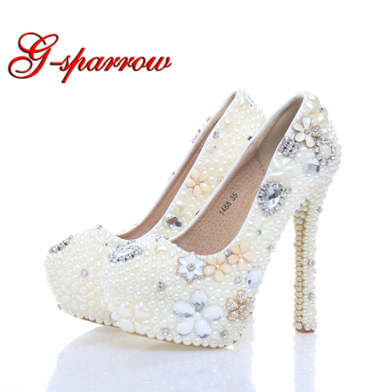 Handmade Large Size Women Pumps Ivory Pearl Wedding Party Shoes Round Toe Bridal High Heels Bridesmaid Shoes 6cm Middle Heel chic high waisted pocket design plus size wide leg pants for women