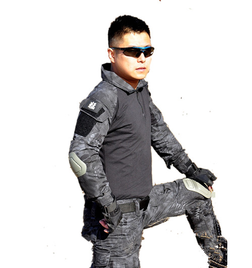 ФОТО Military army uniform SHIRT & PANTS black CAMO  jungle python desert python ELBOW & KNEE PADS military uniform