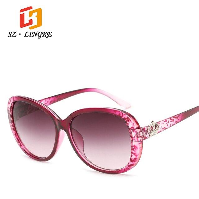 9fdfa2311d SZLINGKE Marca de Diseño de Moda de Las Mujeres gafas de Sol Lentes de  Gradiente Corona