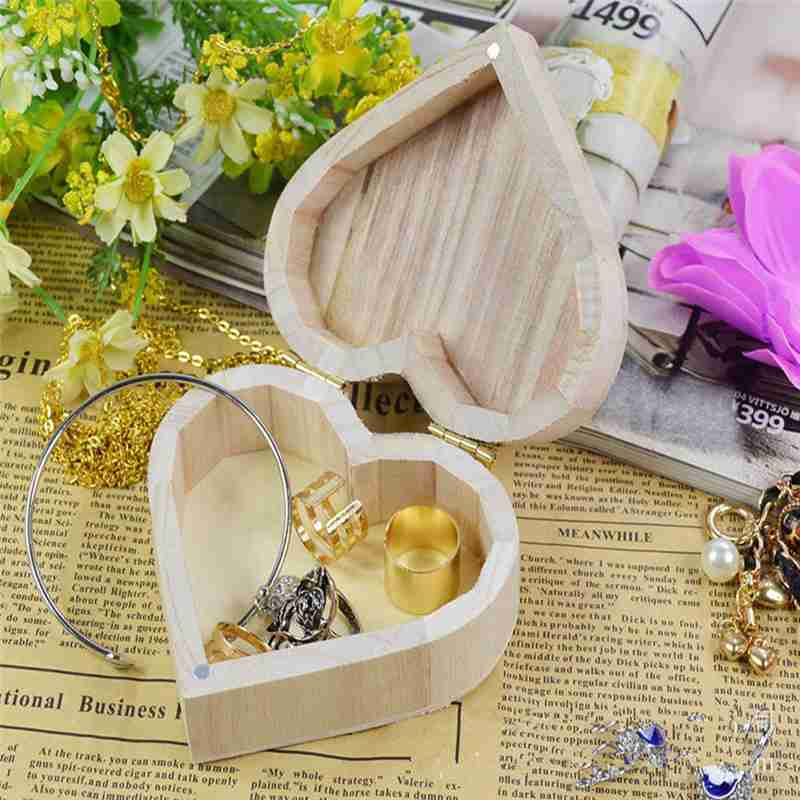 Fashion wedding Jewelry Box Love Heart Shape DIY Wooden blank Packaging Carrying Case for wedding decoration Kid Baby Gifts