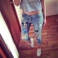 26-34 Plus Size Nova Ripped Capris Jeans para As Mulheres meninas Dos Desenhos Animados Impresso Marcas de Moda Ladies Calças Lápis Do Vintage 8812