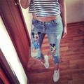 26-34 Plus size New Ripped Capris Jeans for girls Women Printed Cartoon Vintage Fashion Brands Ladies Pencil Pants 8812