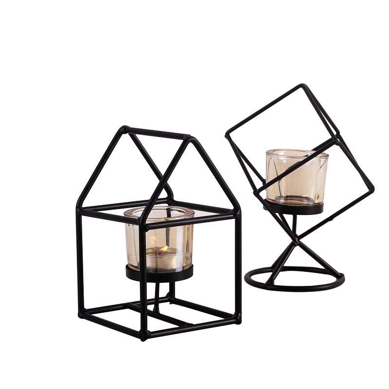 Décor à la maison en métal fer chandelier Miniatures bougeoir ornements bougie support de lumière lanterne artisanat mariage décor cadeau
