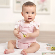 Newborn Cute Bow decoration Girls Sleeveless Rompers party