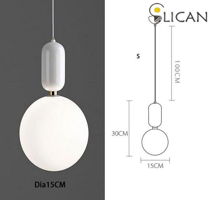 LICAN креативный скандинавский Parachilna ablls светодиодный подвесной светильник, металлическая пластина из молочного матового стекла, Подвесная лампа для столовой - Цвет корпуса: Dia15CM