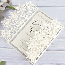 Ivory snowflake wedding card postcard personalized insert card with glitter silver border party decoration supply uv ink printed barcode card and plastic member key card 3 part supply