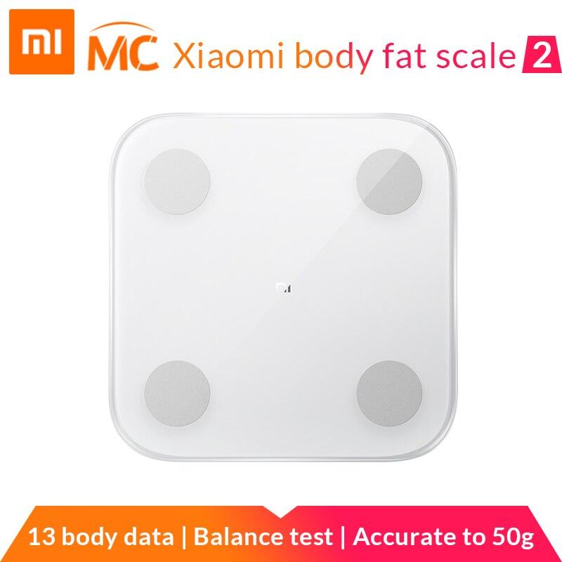 Nouveauté Xiao mi mi balance de graisse corporelle intelligente 2 avec moniteur de Composition corporelle APP mi fit avec LED cachée