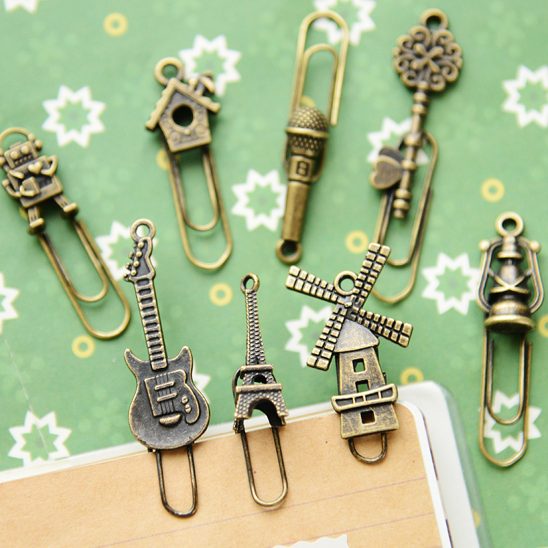 16 Pcs/lot Vintage Metal Bookmarks Cute Noverty Mini Paper Clip Book Marker Page Holder Stationery School Office Supplies