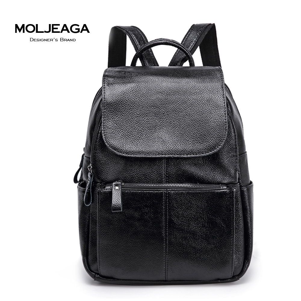 MOLJEAGA brand genuine leather women backpack high quality Clemence cow leather Classic backpack casual bag female
