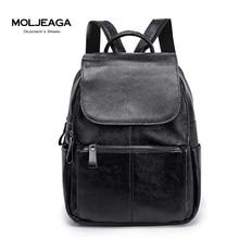 MOLJEAGA бренд натуральная кожа женщины рюкзак высокое качество Клеманс кожа коровы Классический рюкзак случайные сумка женская сумка