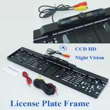 Mit ir lichter HD CCD EU Auto Nummernschild Rahmen kamera hinten reserve kunststoffschale material regendicht funktion