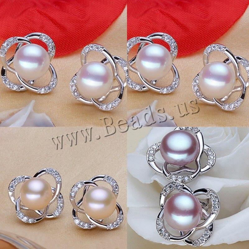 cceb089c96e7 De agua dulce 925 plata esterlina perla Pendientes de broche para la boda  pendiente ZC CC Pendientes para regalo niña precio al por mayor