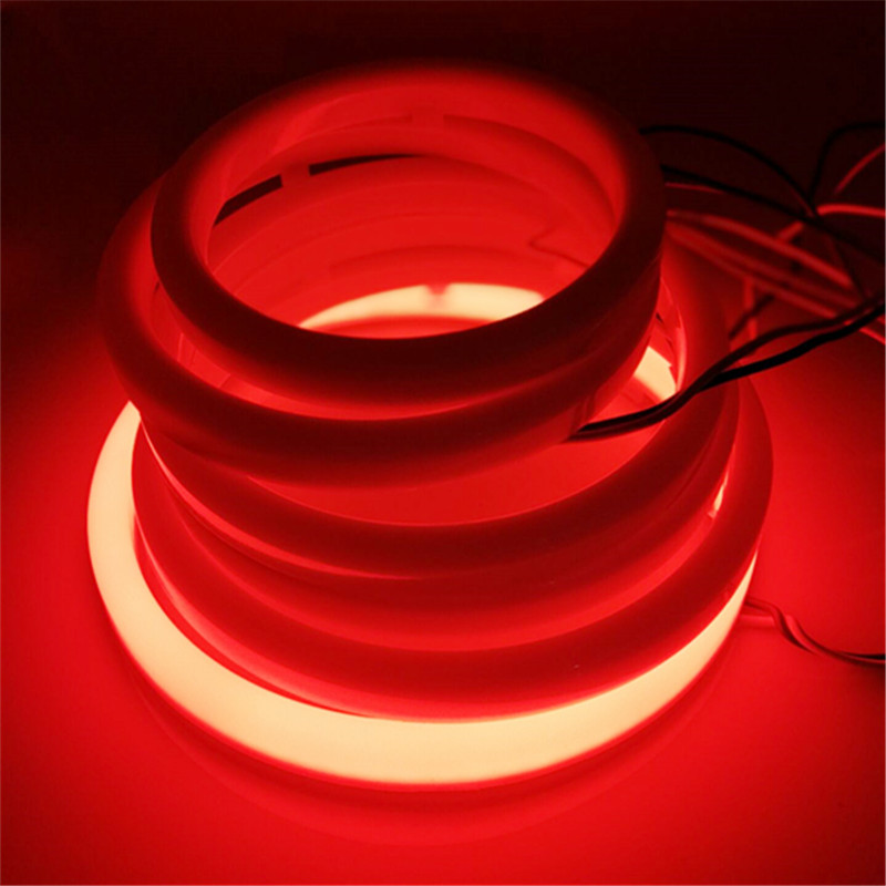 Hoping 2X RED angel eye 60 70 80 90 95 100 110 120MM Auto DRL headlight halo ring led with cover Fog Light Motorcycle