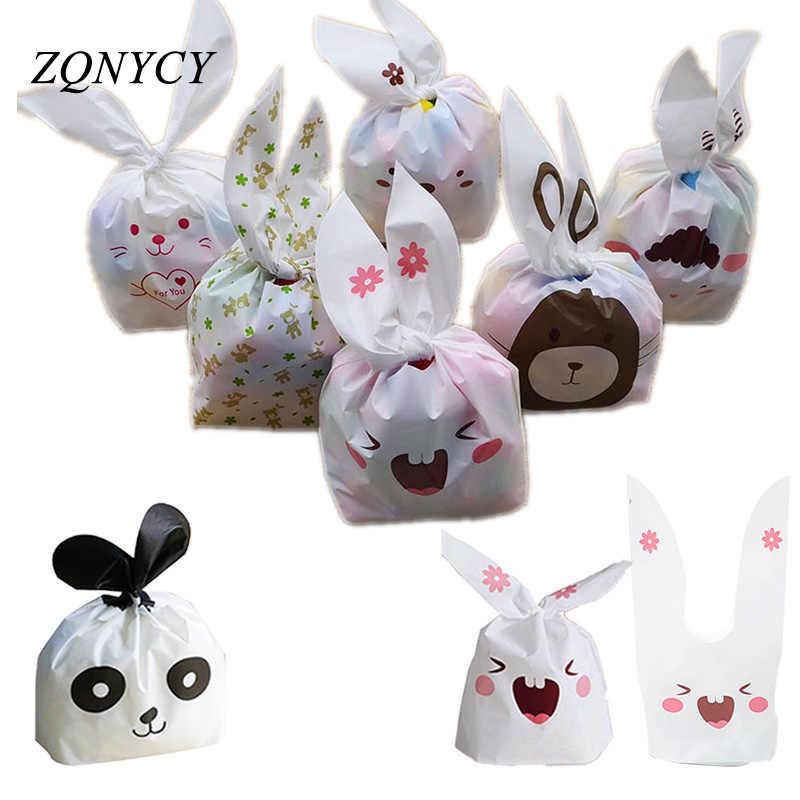 25 uds. Bolsas de galletas de conejito dulces bolsa de embalaje de galletas cumpleaños boda favores dulces regalo bolsas Pascua fiesta decoración suministros