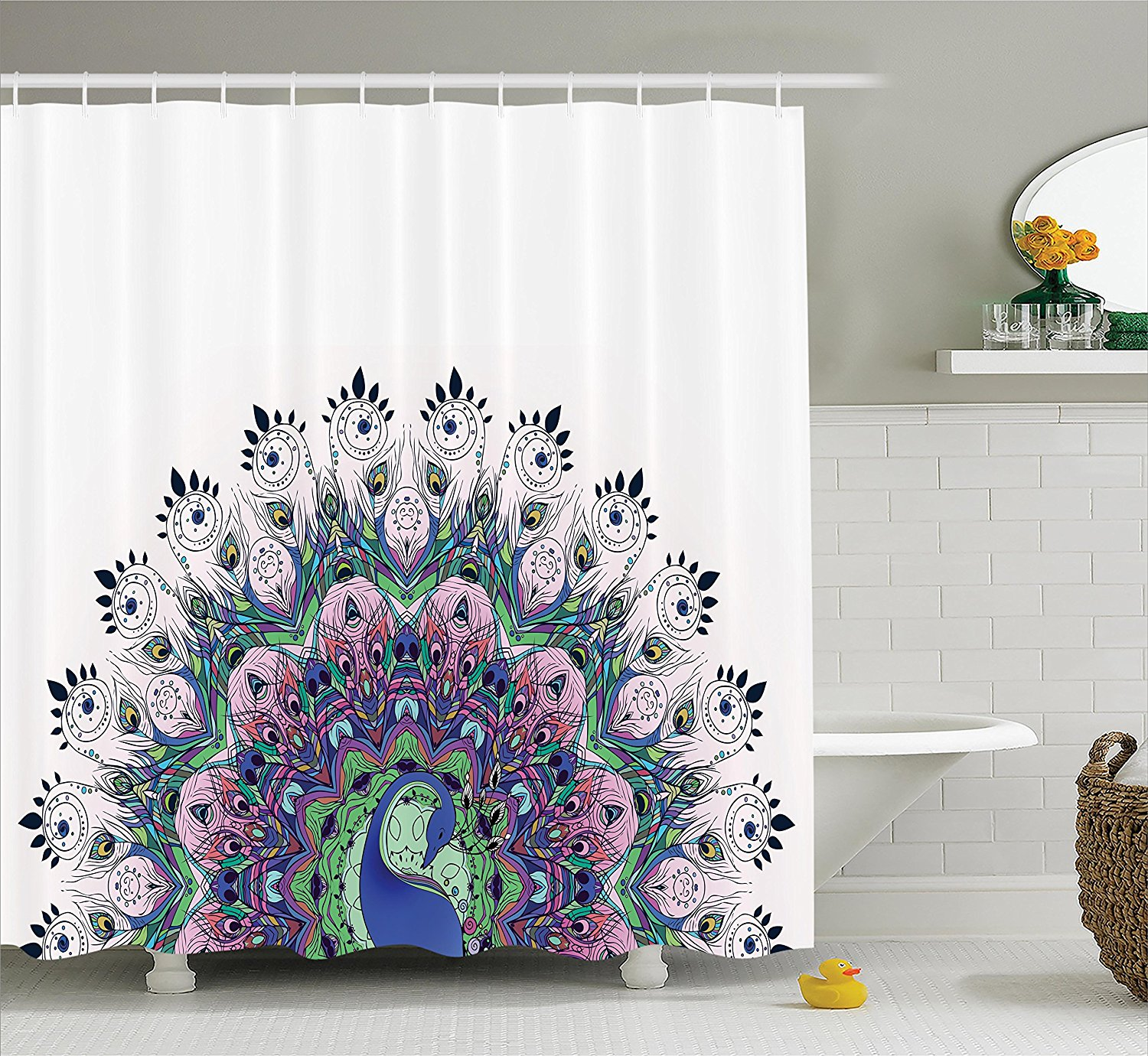 Peacock shower curtain hooks - Peacock Pattern And Exotic Wildlife Feather Ornament Vintage Oriental Image Polyester Fabric Bathroom Shower Curtain