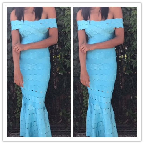 Skyblue and Red Color Ladies HL Bandage Dress Maxi Floor Length Elegant Evening Party Dress Slash Neck Sexy Bodycon Dress цена