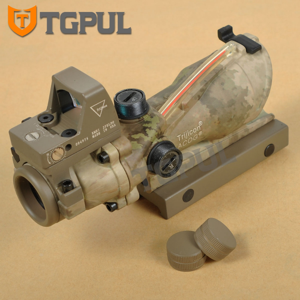 TGPUL ACOG 4X32 Scope Red Crosshair Ballistic Reticle BDC Red Dot Sight Combo 3.25 MOA RMR With Iron Sight Hunting Scopes trijicon acog 4x32 scope red crosshair ballistic reticle bdc red dot sight combo 3 25 moa rmr with iron sight hunting scopes
