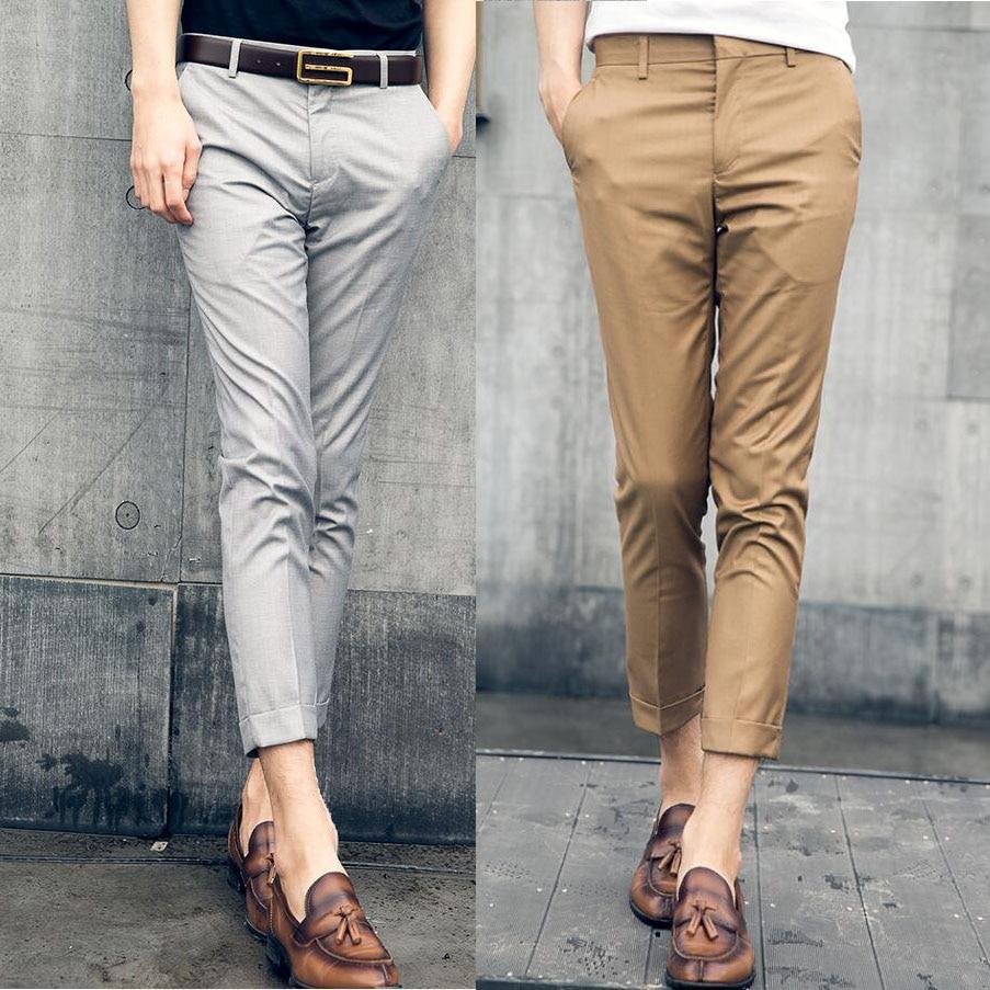 2019 New Mens Slim Fit Cotton Business Dress Pants For Men Suit Pants Ankle Length Men Summer Formal Leisure Suit Trousers