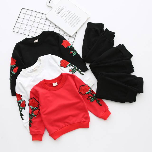 00ea3d13c 2017 Baby Girls Boys Spring Fall Fashion Clothing Set,kids Girl Sequines Rose  Flowers Shirts Pants Suits,tracksuits