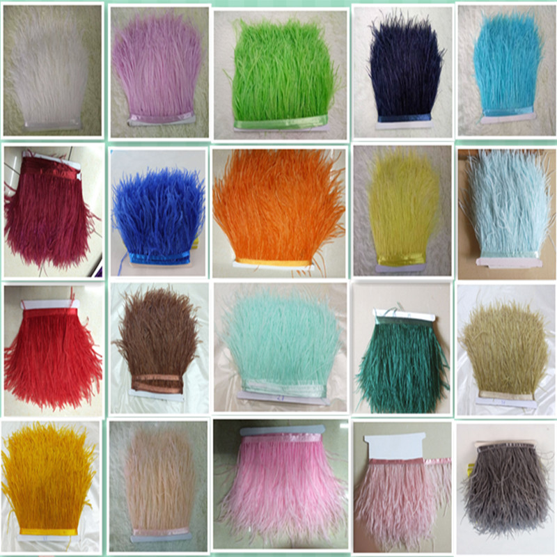 2017 New Wholesale high quality 10 meters ostrich feather ribbon feather length 10 15 cm DIY