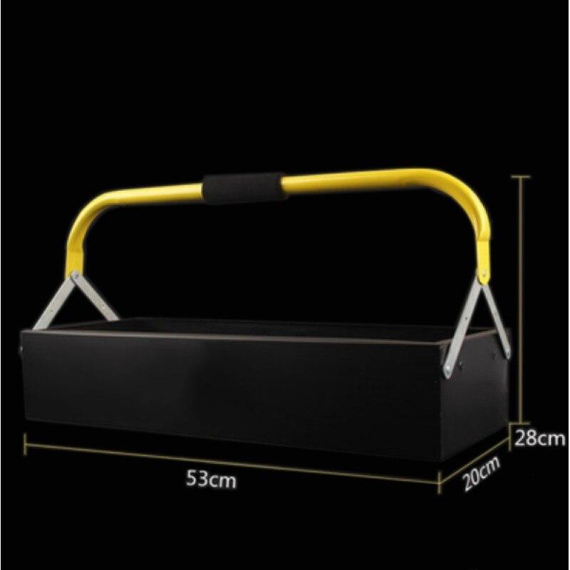 Portable Metal Iron Tool Case Car Repair Household Large Trumpet Hardware Storage Box Suitcase