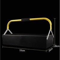 Caso Ferramenta de reparo Do Carro de Metal de ferro doméstico portátil grande trombeta de hardware de armazenamento caixa de mala